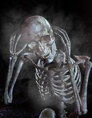 illustrazione 3D dello scheletro umano in casa stregata