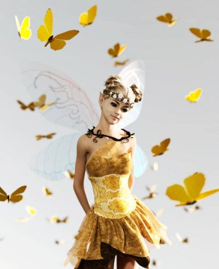 3d rendering of a fairy flying on the sky surrounded by flock butterflies