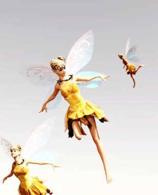 3d rendering of a fairies flying on the sky