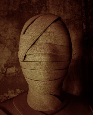 Face of Halloween mummy