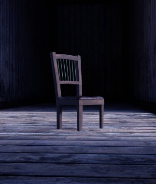 Chair on wooden floor,3d rendering