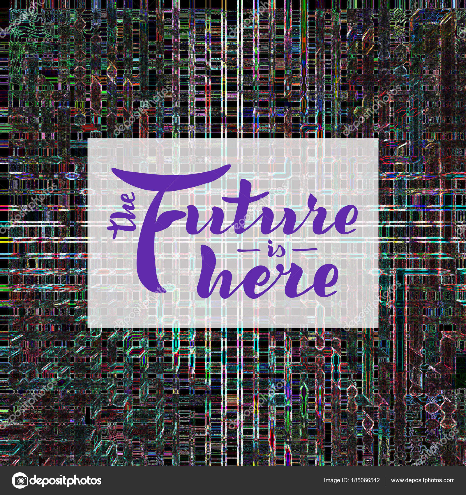 Future Here Quote Handwritten Modern Brush Lettering Abstract Background U2014  Stock Photo