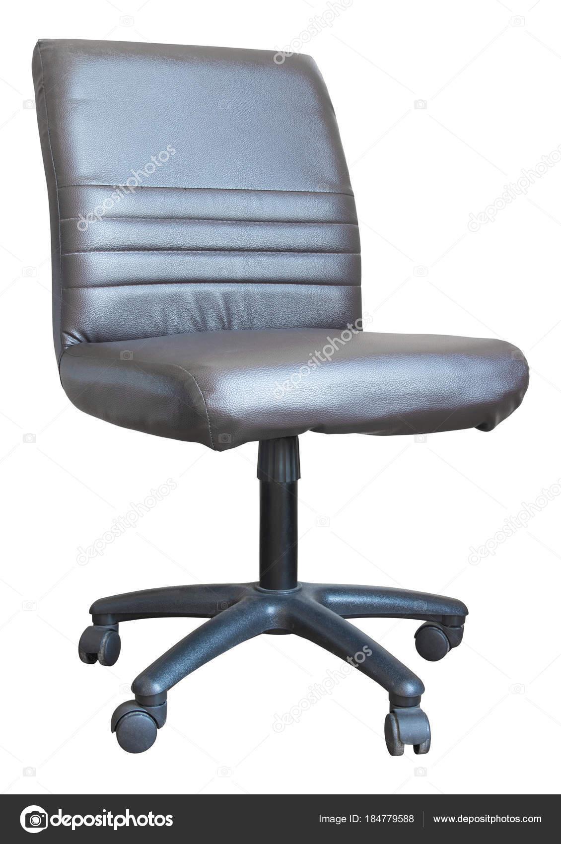 Leder Bürostuhl Isoliert Auf Weiss Mit Beschneidungspfad Stockfoto