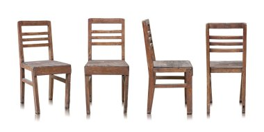 Set of Old Wooden Chair Isolated on White Background