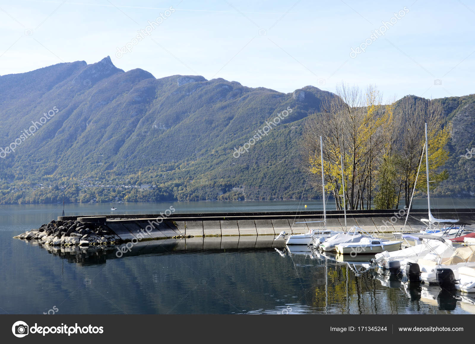 Aix Les Bains Bourget Lake Marina Savoy France Stock Photo