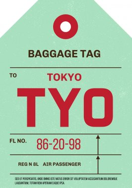 Vintage Luggage Tag, clean and worn out grungy. Real looking airport luggage tag in two graphic styles. Promising adventure to Tokyo, Japan. stock vector