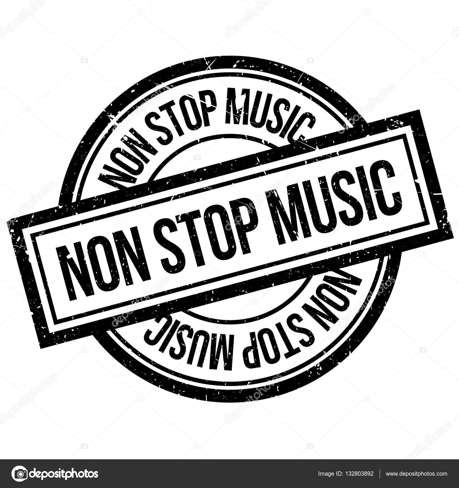 Non Stop Music Rubber Stamp Stock Vector