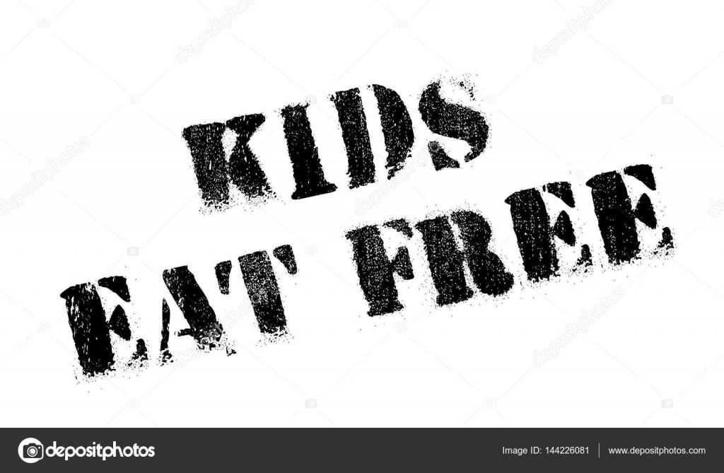 Kinder essen kostenlos Stempel — Stockvektor © lkeskinen0 #144226081