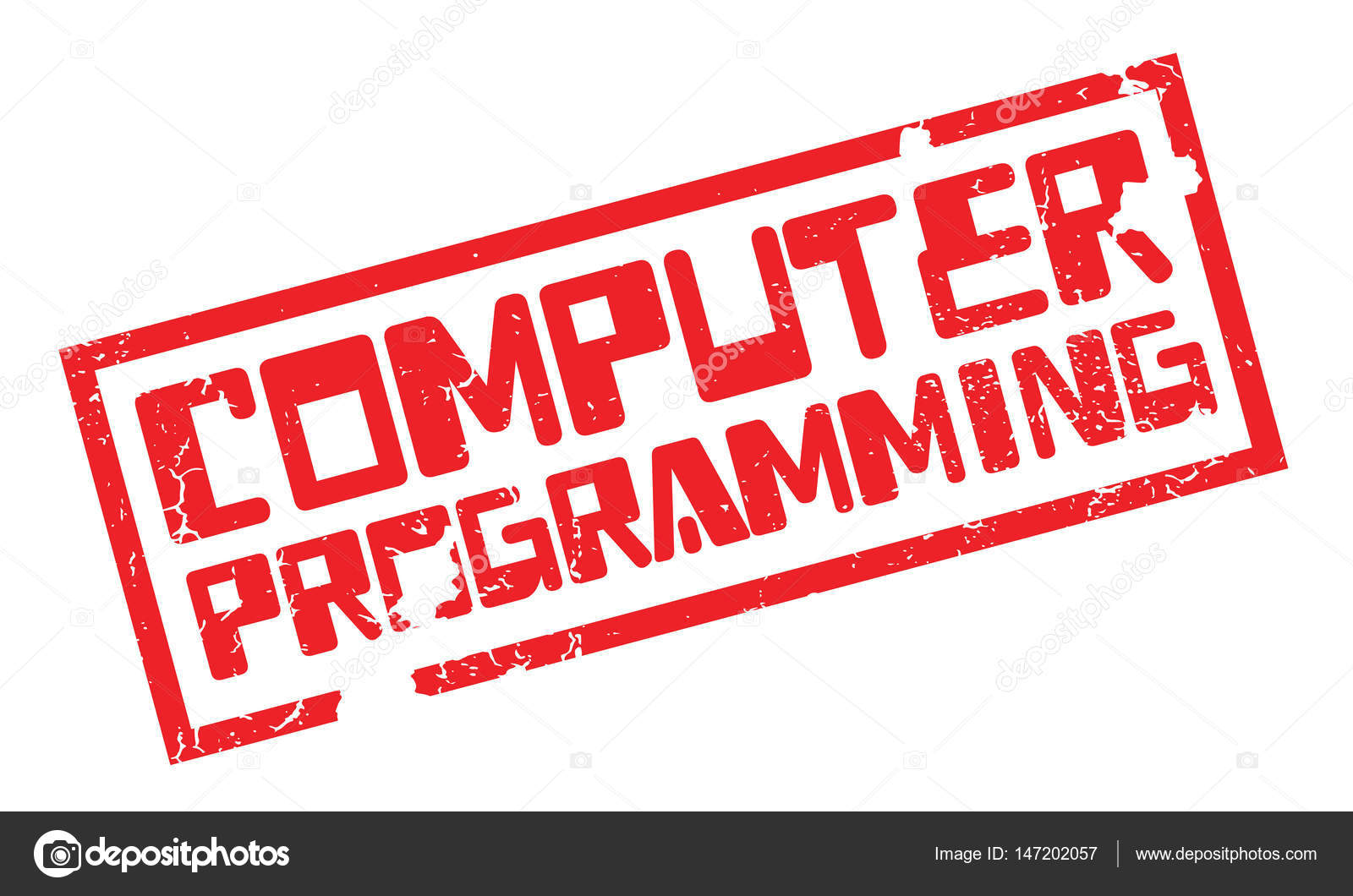 Computer Programming Rubber Stamp Stock Vector