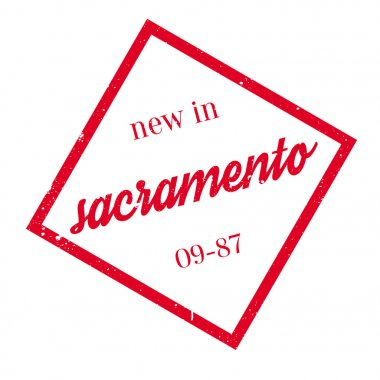 New In Sacramento rubber stamp