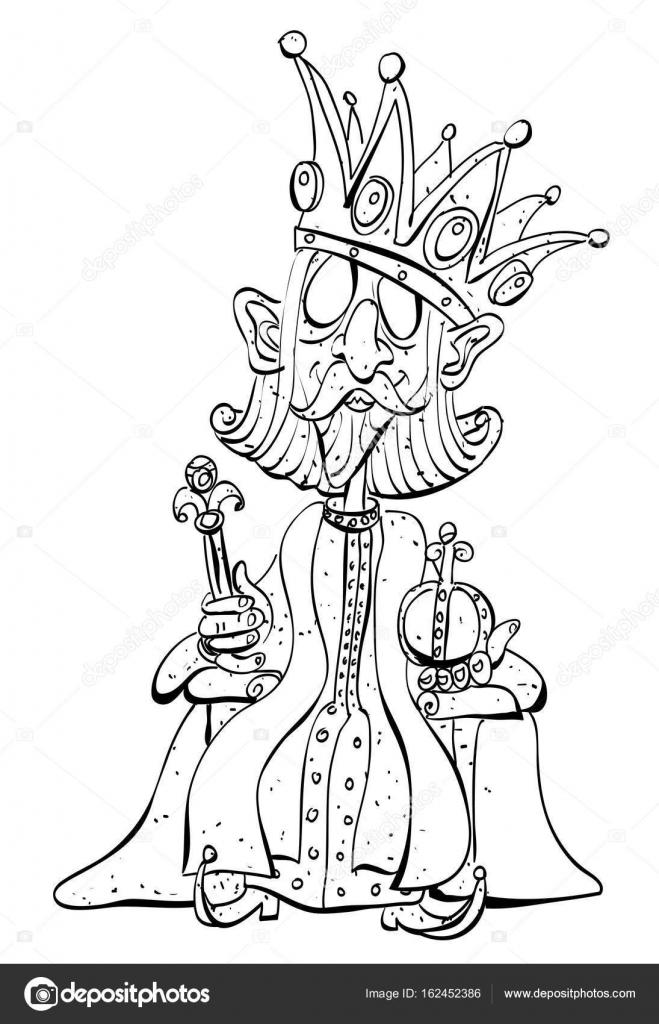 Caricatura del rey con la enorme corona — Vector de stock ...
