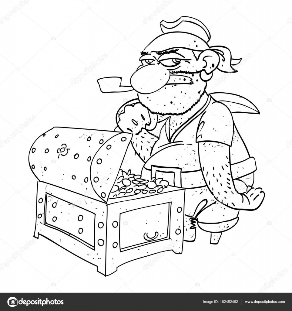 imagem de desenho animado do capitão pirata com baú de tesouro