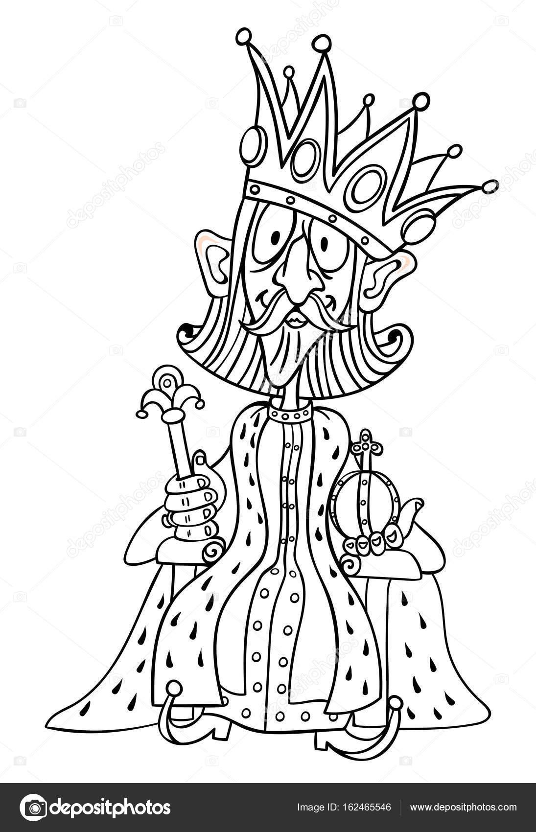 Corona Rey Para Colorear Caricatura Del Rey Con La Enorme Corona