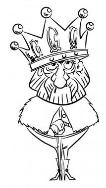 Cartoon image of king with huge crown