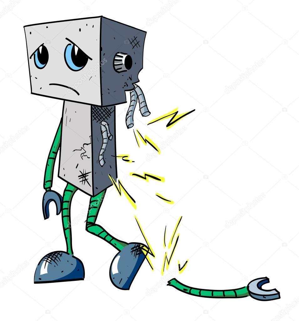 Cartoon image of broken robot
