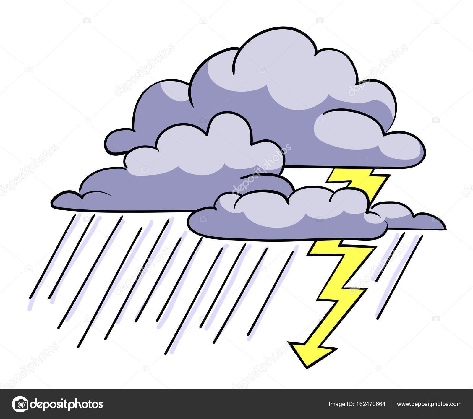嵐アイコンの漫画のイメージ暴風雨のシンボル ストックベクター