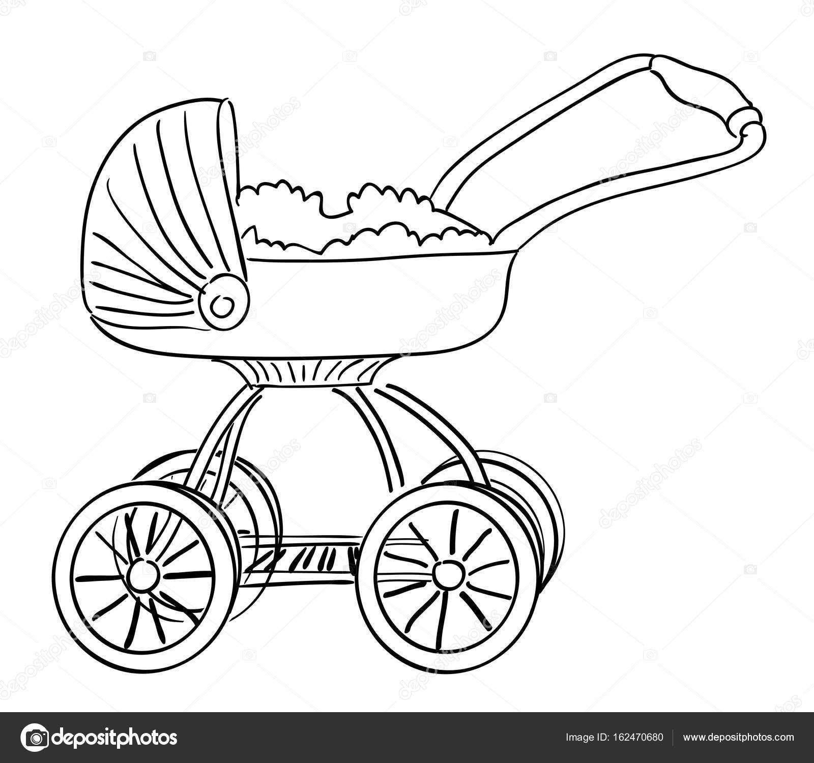 Comic bild der sportwagen ikone kinderwagen symbol - Poussette dessin ...
