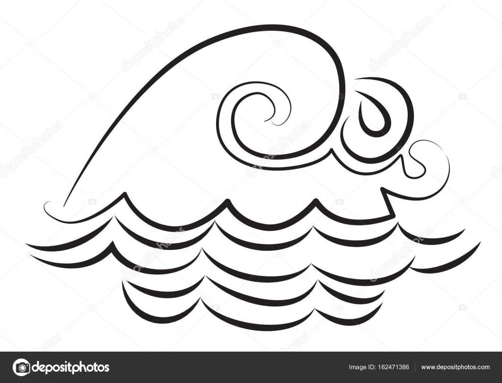Olas De Agua Para Colorear Caricatura De Icono De La Onda Símbolo