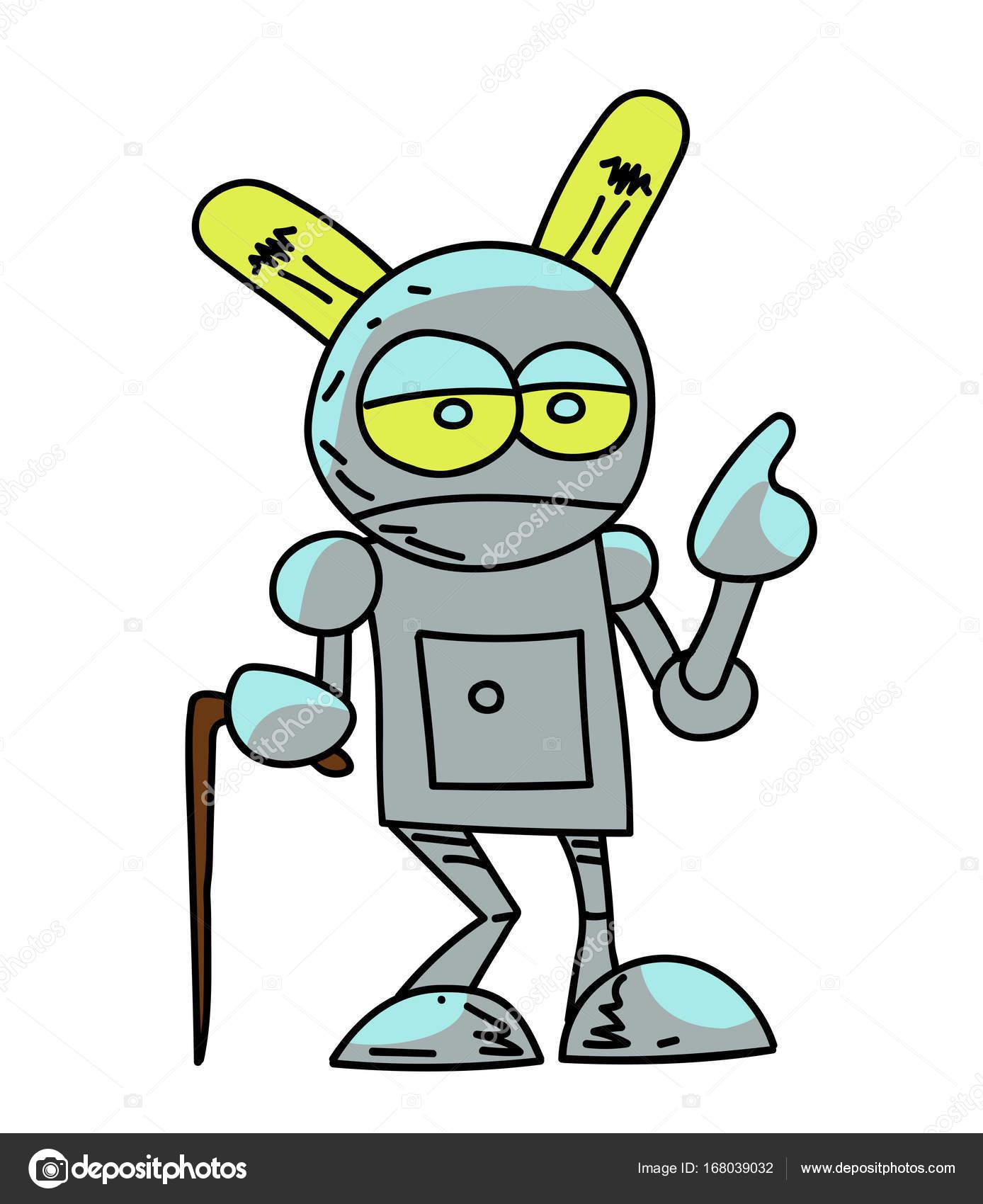 Stary Robot Kresleny Rucne Nakresleny Obrazek Stock Vektor