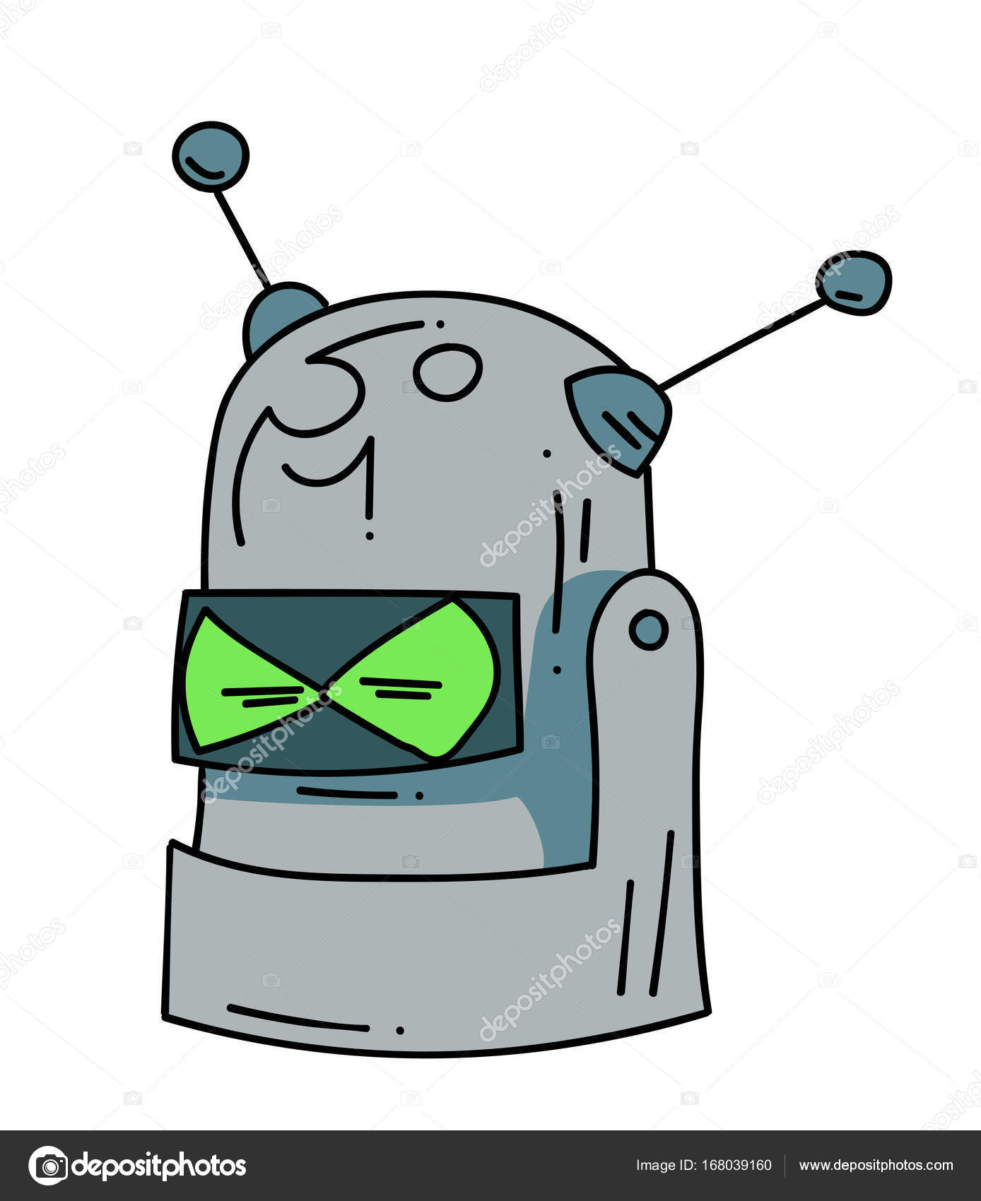 Obrazek Rucne Kreslene Hlavy Kresleny Robota Stock Vektor