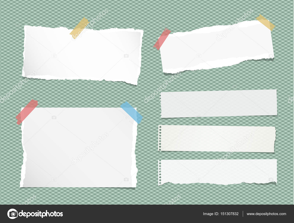 Pedazos rotos nota cuaderno hojas de papel convencional - Que colores pegan ...