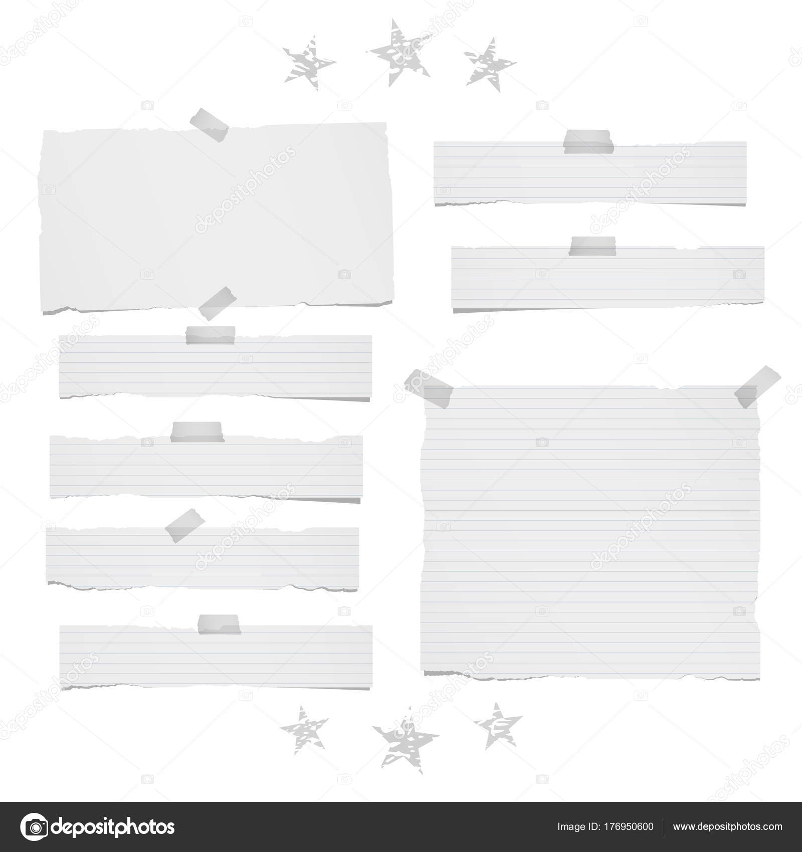 ripped lined and blank note, notebook paper strips, sheets for text