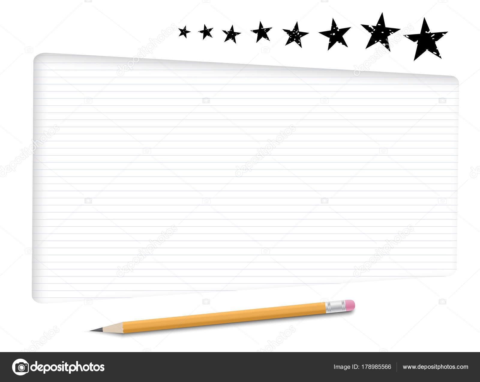 Cuadros de texto blanco, marco con papel rayado para mensaje, lápiz ...