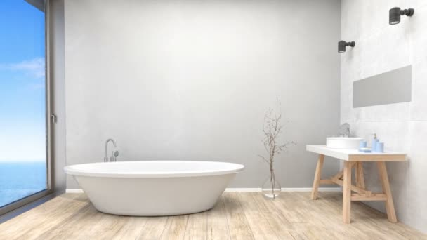 Modern fürdőszoba belső windows-ra cloudscape a tenger
