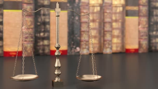 Law concept image with Scales of justice with law books Loop