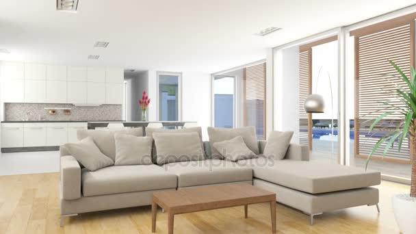 Obývací pokoj a kuchyň s venkovním bazénem