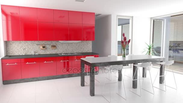Červené dveře skříňky v kuchyni