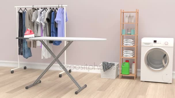 Modern szoba a mosógép, a ruhák és a tisztítószerek