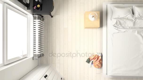overhead bedroom furniture. Bedroom With Furniture Overhead Top View. \u2014 Stock Video