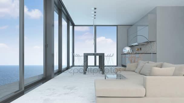Moderní luxusní obývací pokoj s výhledem na oceán