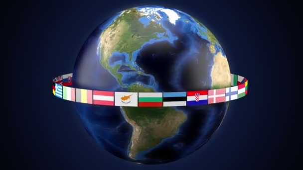 Flags of the member states of the European Union around the world Loop