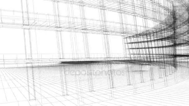 Render-3D-Animation des Gebäudes Drahtmodell — Stockvideo ...