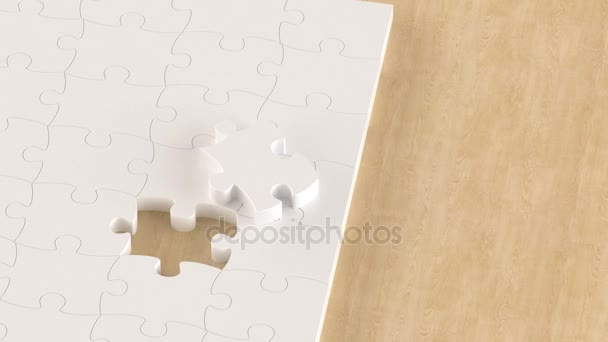 Jigsaw puzzle pieces on the table
