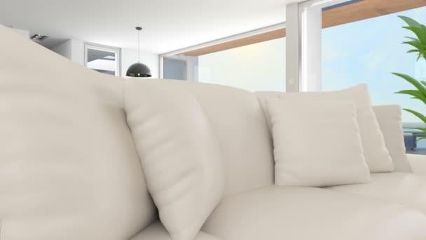 Modernes Wohnzimmer mit Außenpool