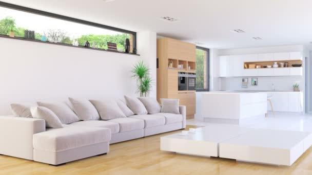 Interiér domu obývací pokoj s kuchyní