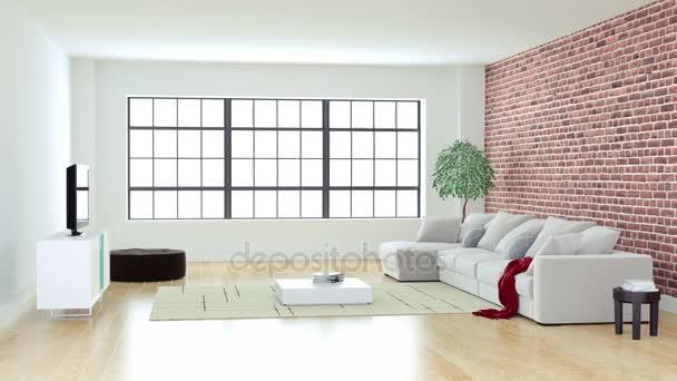 Modernes Wohnzimmer mit Tageslicht durch Fenster — Stockvideo ...
