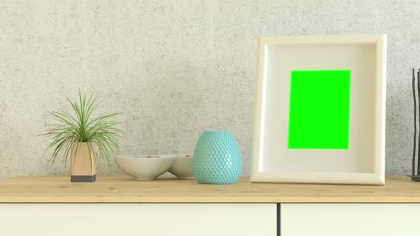 Fotorámeček s obrazovkou track zelená na stůl