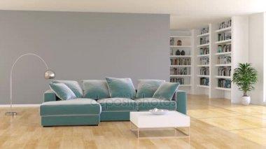 Moderne minimalistische woonkamer interieur met witte fauteuil