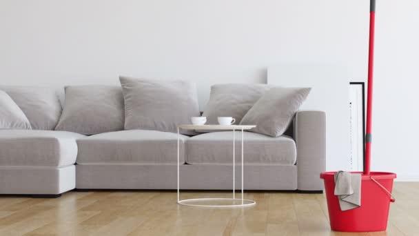 Dubovou podlahu s mopem v obývacím pokoji