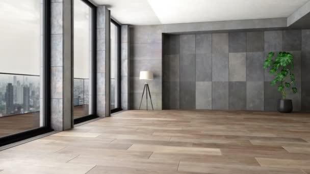 Kamenná stěna a parketová podlaha