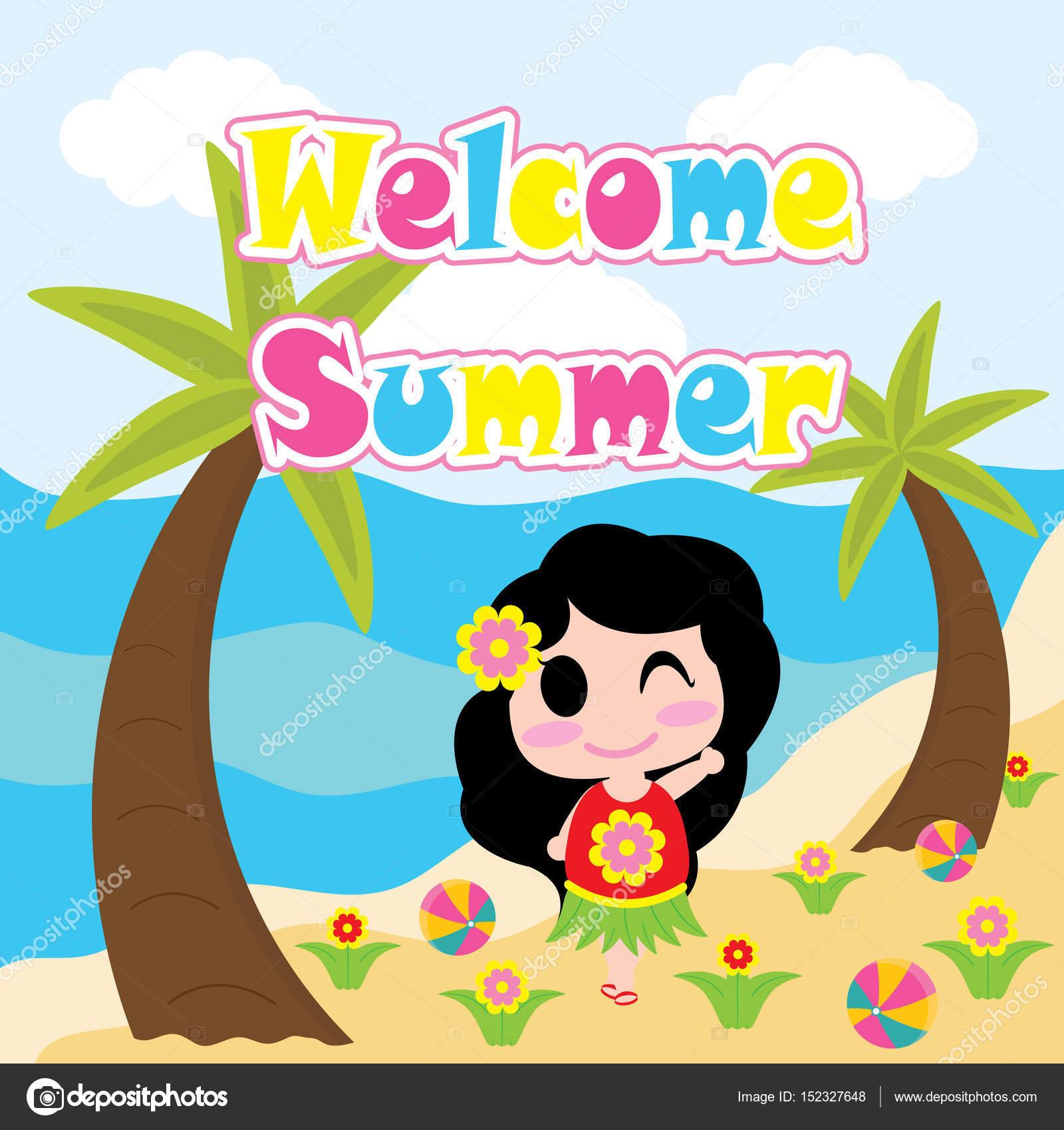 かわいい女の子がビーチ ベクトルの漫画夏はがき壁紙