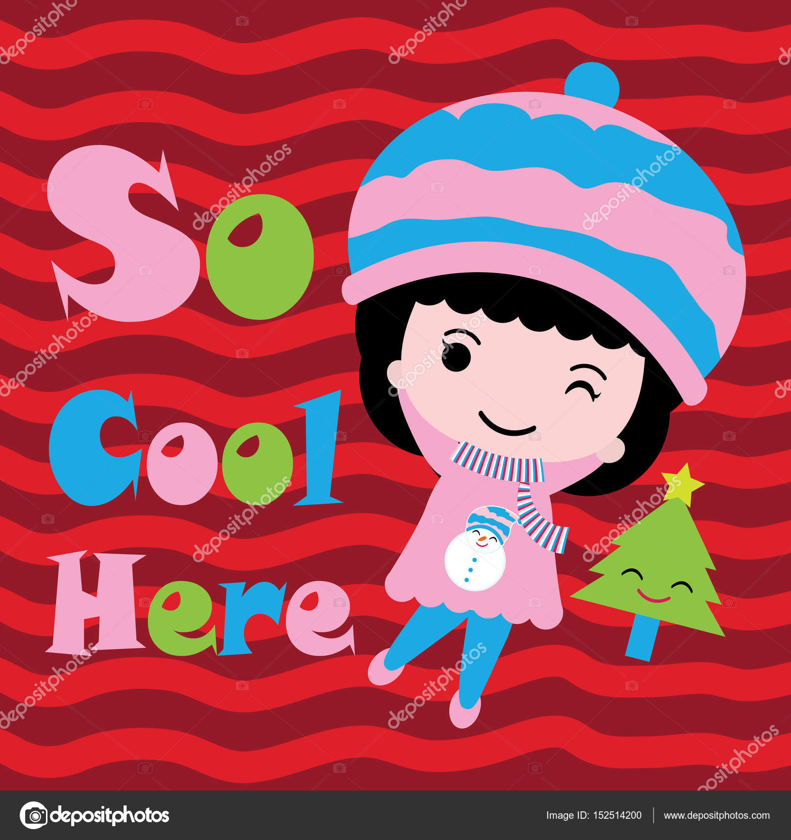 Cute Girl And Xmas Tree On Red Background Vector Cartoon Xmas Postcard Wallpaper And Greeting Card Stock Vector C Mommy05 152514200