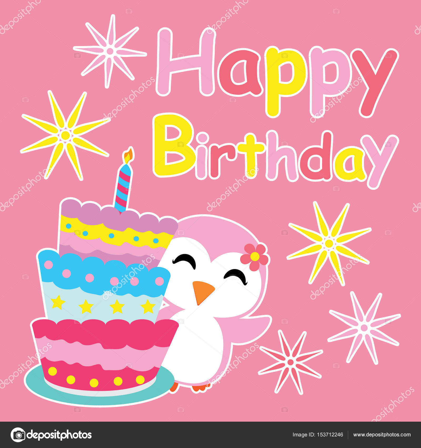 Cute penguin girl smiles beside birthday cake vector cartoon