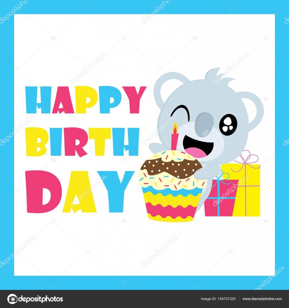 Great Wallpaper Koala Cartoon - depositphotos_154737320-stock-illustration-cute-koala-with-birthday-cupcake  Pic_839138   .jpg