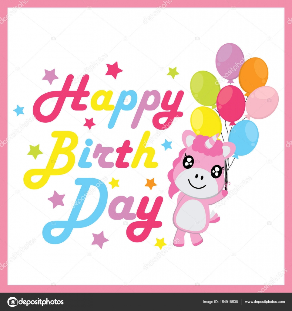 Cute baby unicorn brings balloons vector cartoon birthday cute baby unicorn brings balloons vector cartoon birthday postcard wallpaper and greeting card bookmarktalkfo Image collections