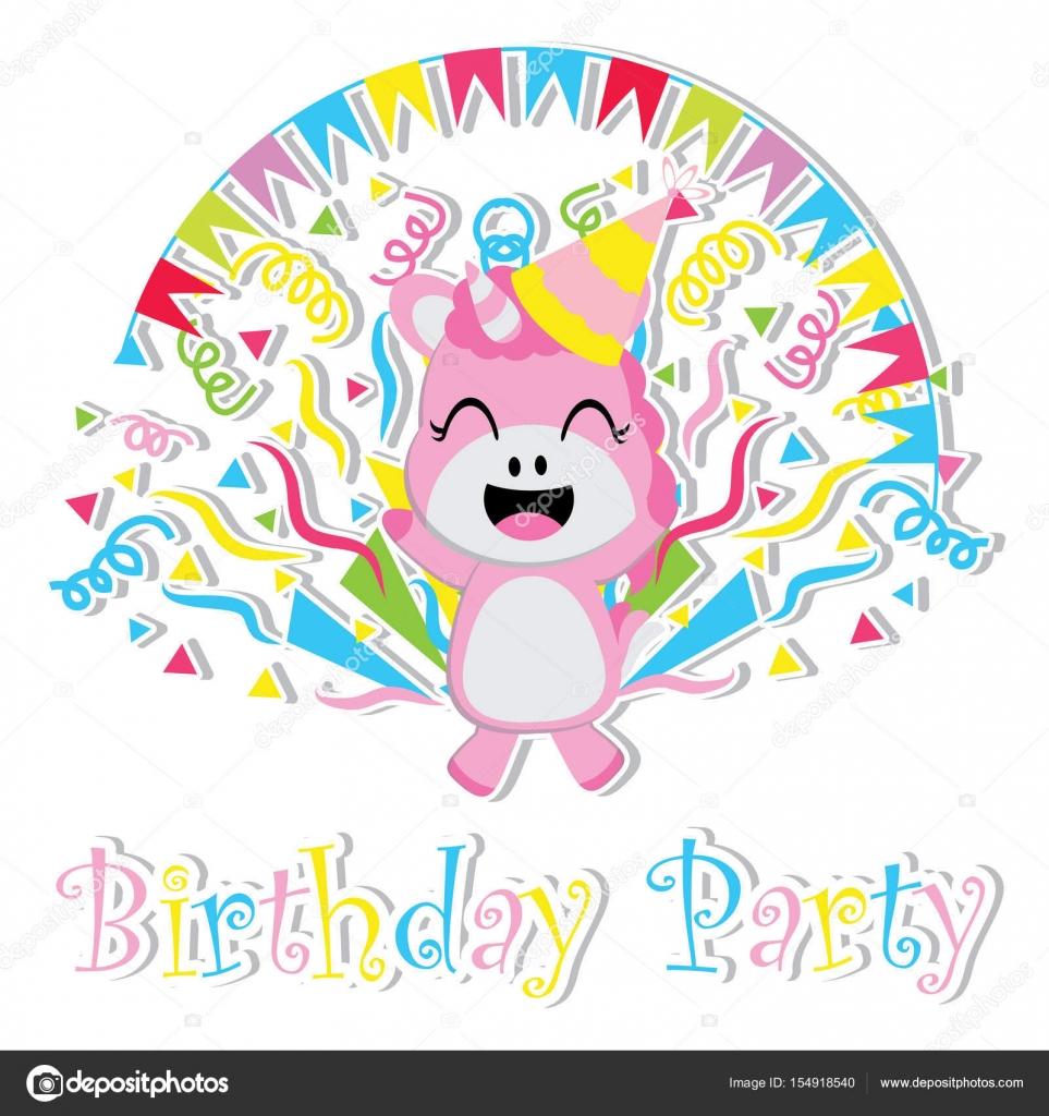 Cute baby unicorn is happy vector cartoon Birthday postcard